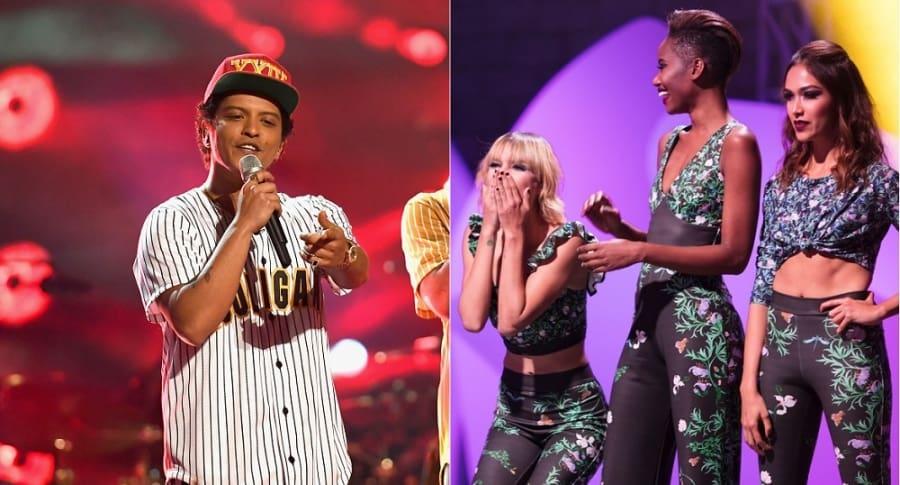 Bruno Mars, cantante, y Alejandra Merlano, Sasha Palma y María Camila Giraldo, finalistas de 'Colombia's next top model' 2017.
