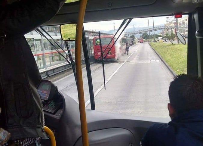 TransMilenio incendiado