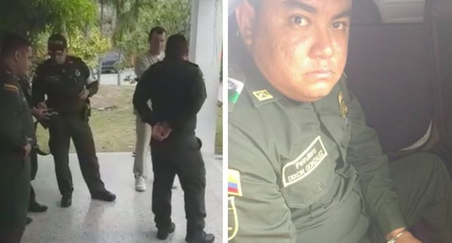 Patrullero Dixon González en el momento de la captura