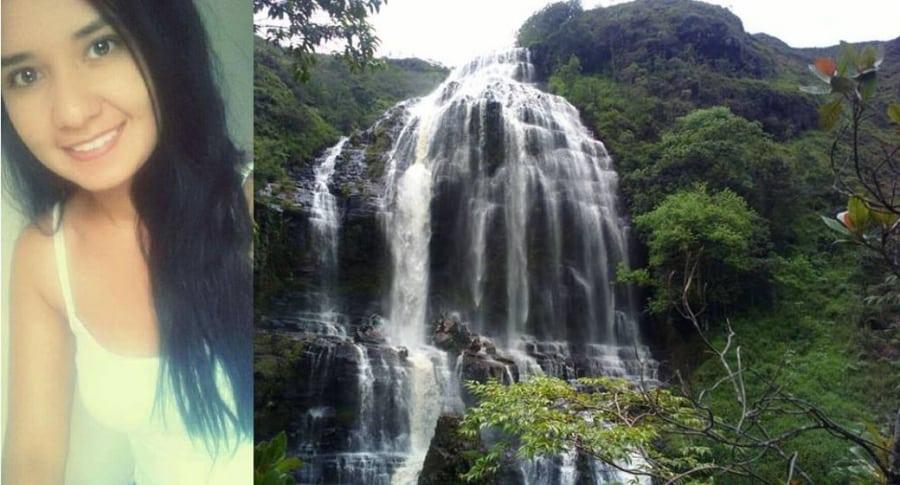 Zaira Noguera y cascada Manto de La Virgen
