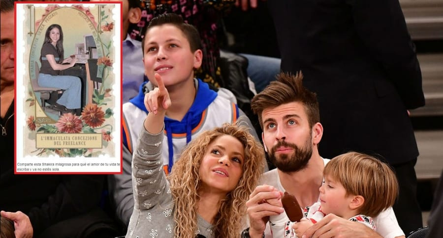 La cantante Shakira con su pareja, el futbolista Gerard Piqué, y su hijo Sasha.
