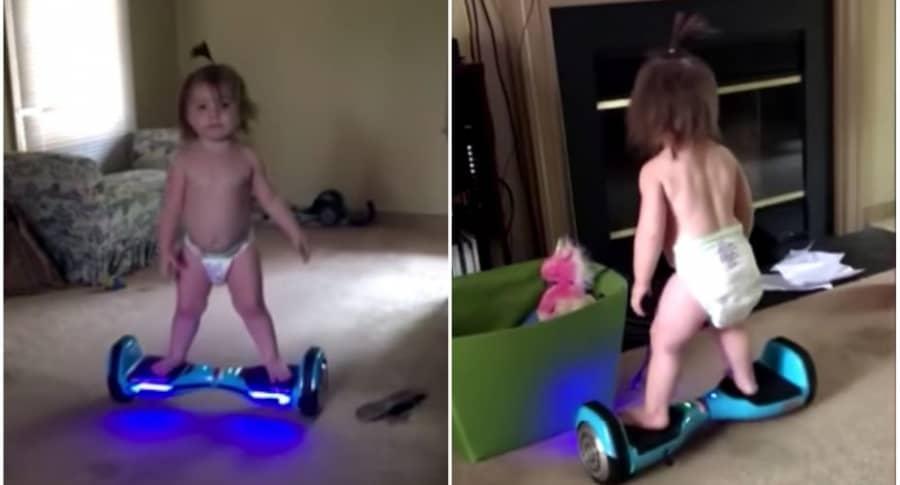 Niña de 11 meses en una  'hoverboard'.