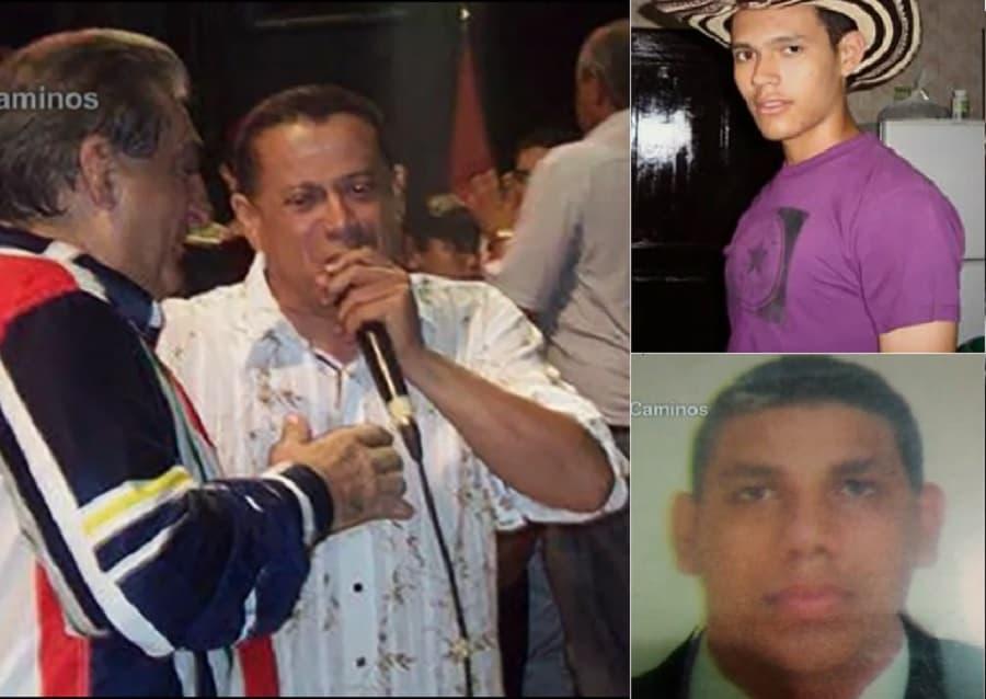 Roberto Calderón, cantautor, y los jóvenes Roberto Machado y Jorge Prada (Q.E.P.D)