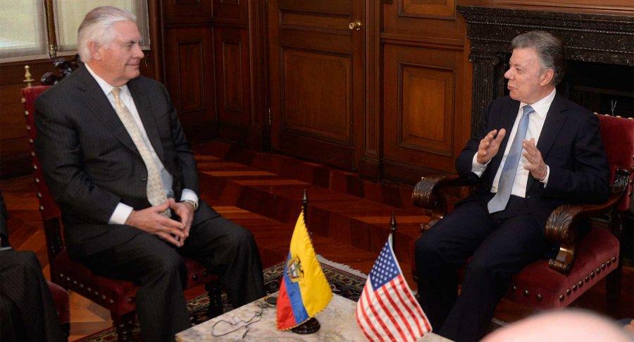 Rex Tillerson y Juan Manuel Santos