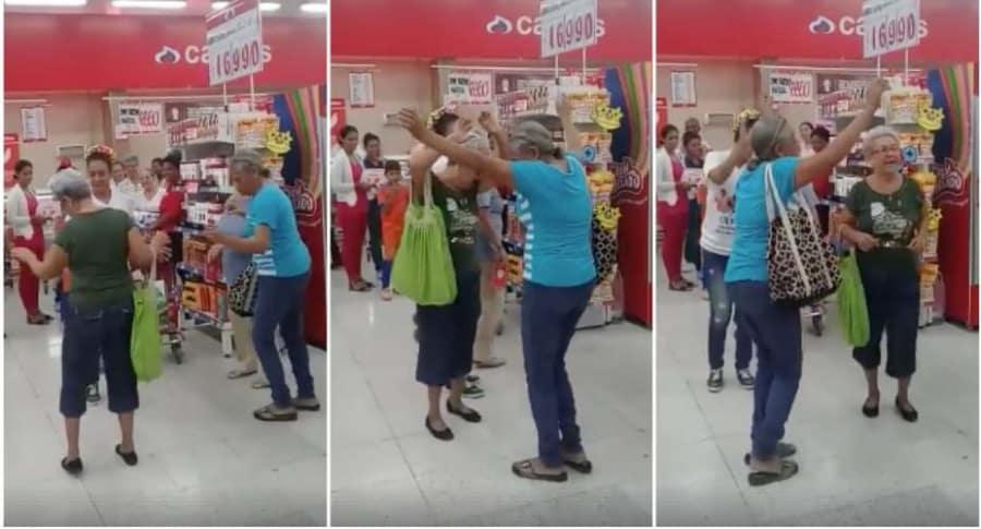 Abuelas bailan en supermercado de Colombia.