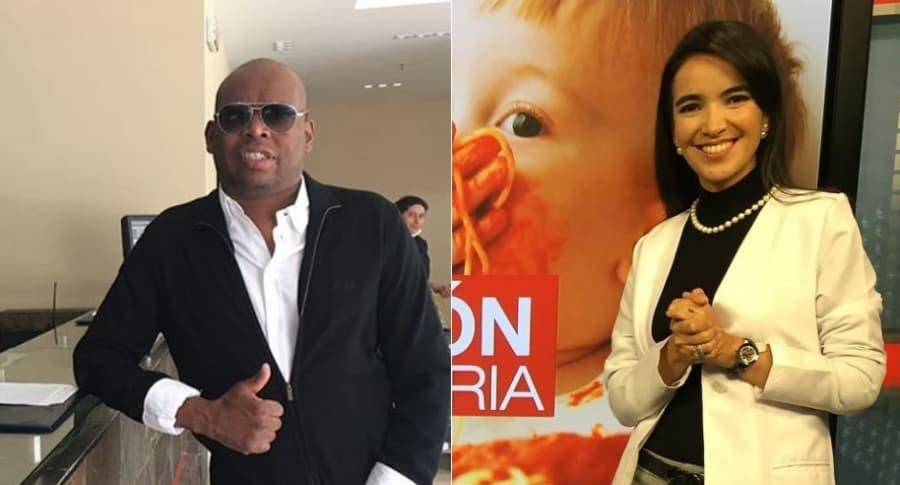 Faustino 'el Tino' Asprilla, exfutbolista, y Fernanda Hernández, doctora de Noticias Caracol.