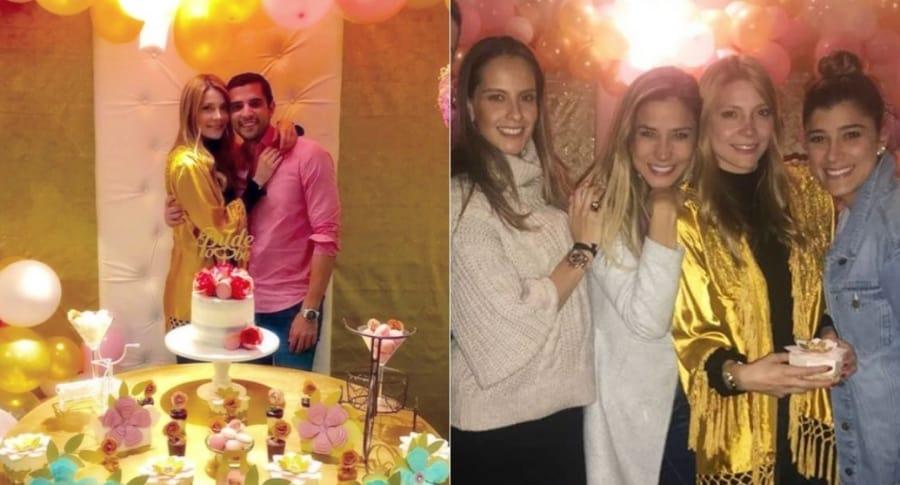 Mayte González con su prometido Anuar Pérez Escaf y con las presentadoras Laura Acuña, Zahira Benavides y Andrea Jaramillo.