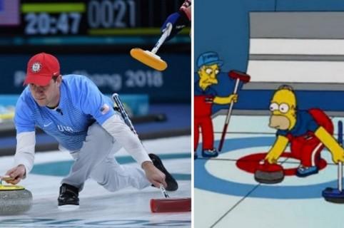 Curling EEUU y los Simpson
