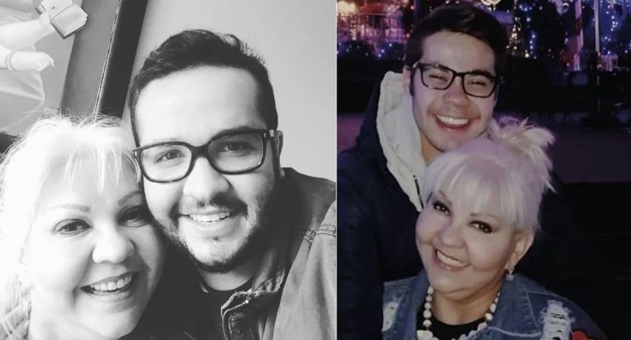 'La gorda Fabiola', humorista, con su hijos Juan Valencia y Nelson Polanía.