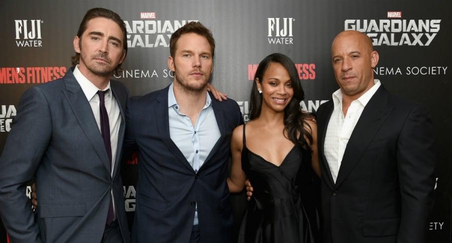 Lee Pace, Chris Pratt, Zoe Saldana y Vin Diesel