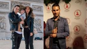 Santiago Arias, futbolista, con su esposa Karin Jiménez, modelo e hijo, Thiago; y Pipe Bueno, cantante.