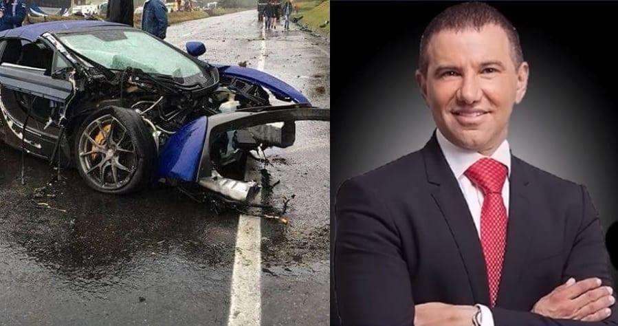 McLaren destruido y Giovanni Bojanini