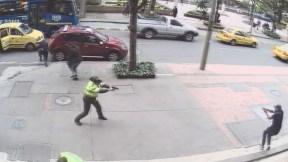Momento de la balacera en el Centro Internacional de Bogotá