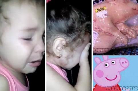 Niña llorando por 'Peppa Pig'