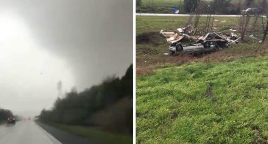 Carro volcado por tornado