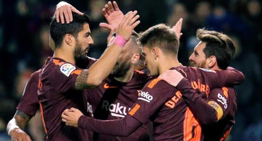 Celebración gol de Barcelona vs la Coruña