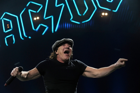 DENVER, CO - FEBRUARY 8: Brian Johnson of AC/DC performs at the Pepsi Center in Denver, Colorado on February 8, 2016. (Photo by Seth McConnell/The Denver Post via Getty Images)