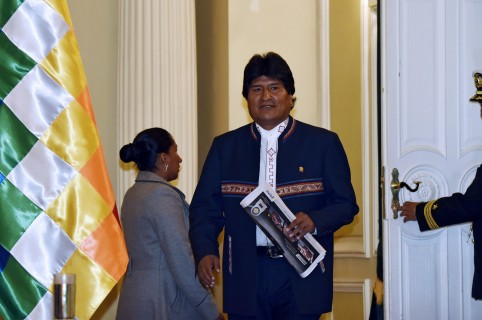 Bolivian President Evo Morales Ayma arrives for a press conference at Quemado palace in La Paz on February 24, 2016. Morales conceded on Wednesday he had lost a bid to seek a fourth term in office, after 51 percent of voters rejected the move in a weekend referendum. AFP PHOTO/Aizar Raldes / AFP / AIZAR RALDES