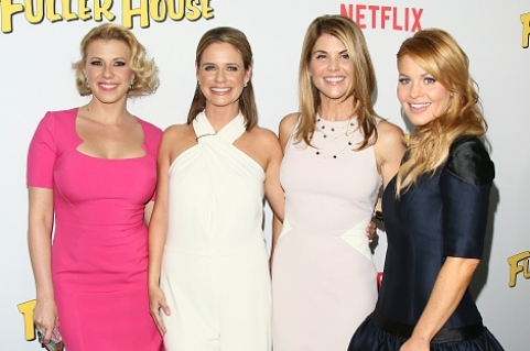 LOS ANGELES, CA - FEBRUARY 16: Candace Cameron-Bure, Jodie Sweetin, Lori Loughlin and Andrea Barber attend the premiere of Netflix's 'Fuller House' on February 16, 2016 in Los Angeles, California. (Photo by JB Lacroix/WireImage)