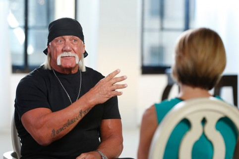 """GOOD MORNING AMERICA - Hulk Hogan sat down for an interview with Amy Robach to air on """"Good Morning America,"""" 8/28/15, on the ABC Television Network. (Photo by Heidi Gutman/ABC via Getty Images) HULK HOGAN, AMY ROBACH"""