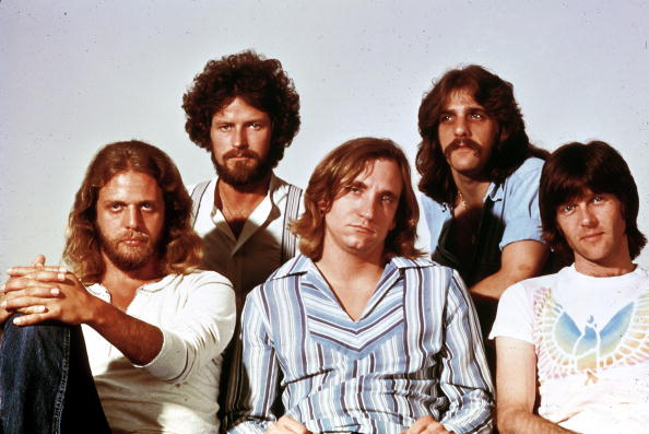 UNSPECIFIED - JANUARY 01: Photo of Glenn FREY and Joe WALSH and Don HENLEY and Don FELDER and EAGLES and Randy MEISNER; L-R: Don Felder, Don Henley, Joe Walsh, Glenn Frey, Randy Meisner - posed, studio, group shot - Hotel California era (Photo by RB/Redferns)